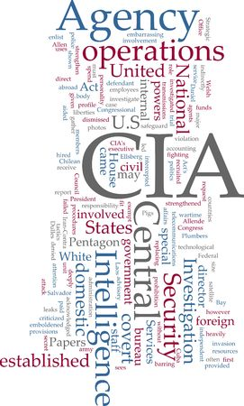 wartime: Word cloud concept illustration of  CIA Central Intelligence Agency Stock Photo