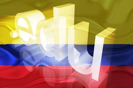 edu: Flag of Colombia, national country symbol illustration wavy edu education website Stock Photo