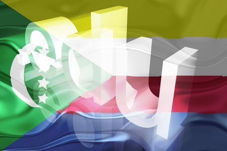 edu: Flag of Comoros , national country symbol illustration wavy edu education website Stock Photo