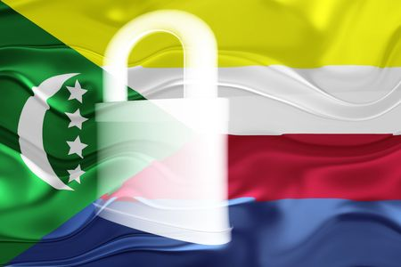 defended: Flag of Comoros , national country symbol illustration wavy security lock protection