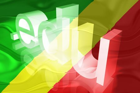 edu: Flag of Congo, national country symbol illustration wavy edu education website