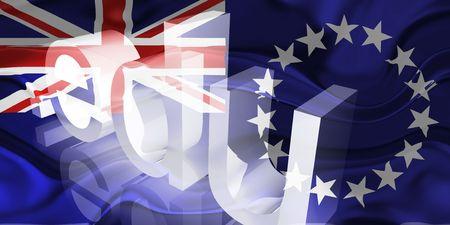 edu: Flag of Cook Islands, national country symbol illustration wavy edu education website Stock Photo