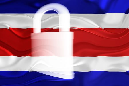 guarded: Flag of Costa Rica , national country symbol illustration wavy security lock protection