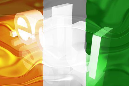 edu: Flag of Ivory Coast, national country symbol illustration wavy edu education website