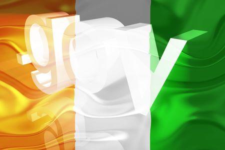 gov: Flag of Ivory Coast, national country symbol illustration wavy gov government website Stock Photo