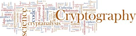 Word cloud concept illustration of cryptography encryption illustration
