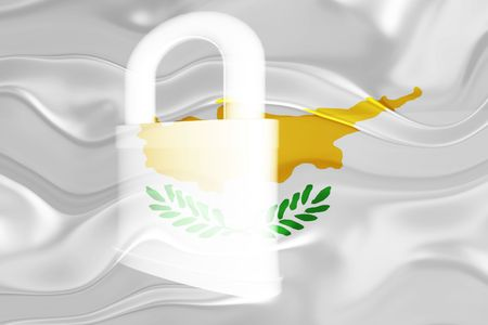 guarded: Flag of Cyprus, national symbol illustration clipart wavy security lock protection