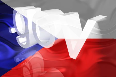 gov: Flag of Czechoslovakia, national symbol illustration clipart wavy gov government website Stock Photo