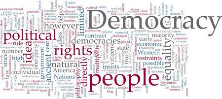 democracies: Word cloud concept illustration of democracy political