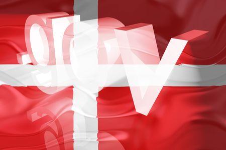 gov: Flag of Denmark, national country symbol illustration wavy gov government website