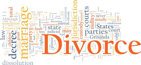 custody: Word cloud concept illustration of divorce marriage