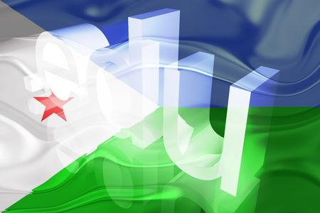 edu: Flag of Djibouti , national country symbol illustration wavy edu education website