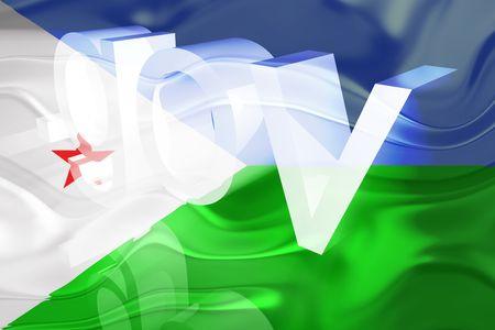 gov: Flag of Djibouti , national country symbol illustration wavy gov government website