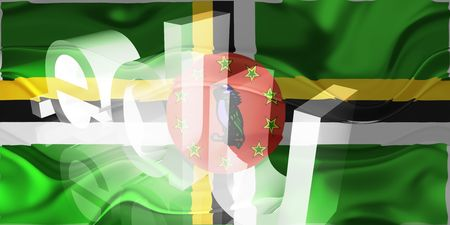 Flag of Dominica, national country symbol illustration wavy edu education website illustration