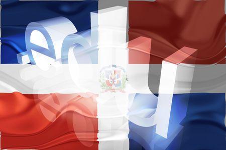 edu: Flag of Dominican Republic, national country symbol illustration wavy edu education website Stock Photo