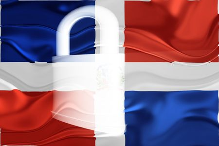 defended: Flag of Dominican Republic, national country symbol illustration wavy security lock protection