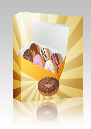 sweetened: Software package box Box of assorted donuts illustration on radial burst