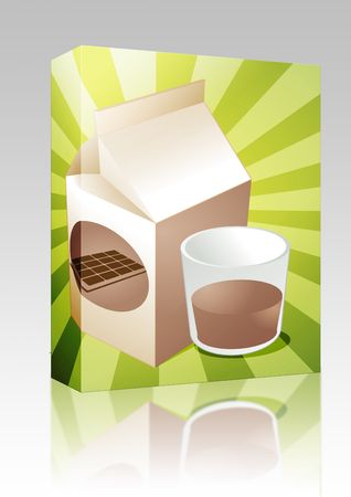 Software package box Chocolate milk carton with filled glass illustration illustration
