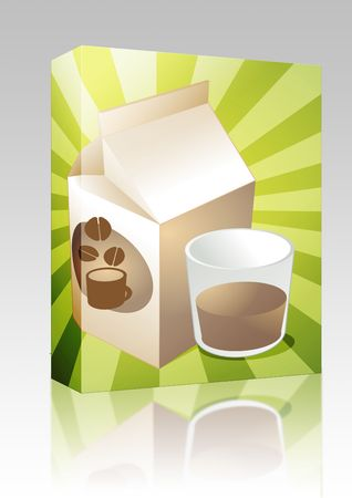 Software package box Coffee milk carton with filled glass illustration illustration