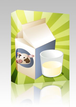 Software package box Cow milk carton with filled glass illustration illustration