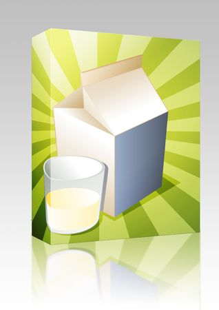 Software package box Plain milk carton with filled glass illustration illustration