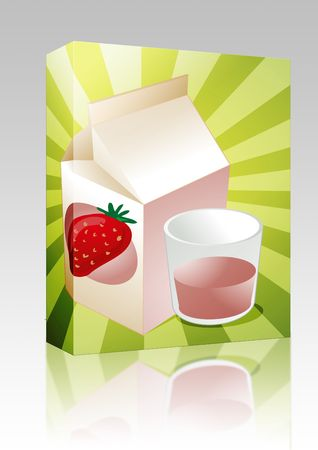 Software package box Strawberry milk carton with filled glass illustration illustration