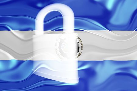 guarded: Flag of El Salvador, national country symbol illustration wavy security lock protection Stock Photo