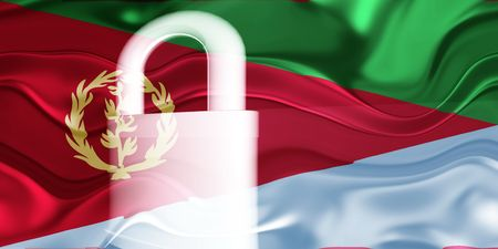 defended: Flag of Eritrea, national country symbol illustration wavy security lock protection