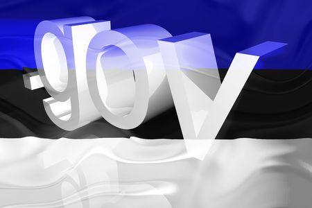 gov: Flag of Estonia, national country symbol illustration wavy gov government website