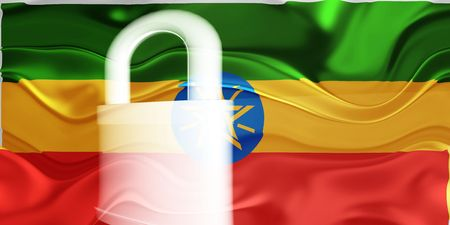 guarded: Flag of Ethiopia, national country symbol illustration wavy security lock protection