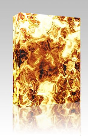 crackling: Software package box Fiery explosion and flames texture, rendered illustration