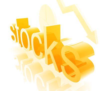 downwards: Stock market estate economy trend concept illustration worsening downwards