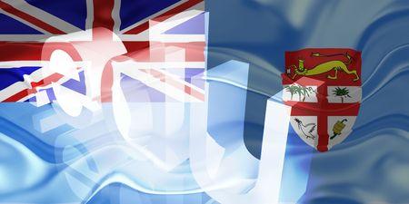 edu: Flag of Fiji, national country symbol illustration wavy edu education website