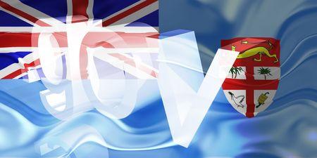 gov: Flag of Fiji, national country symbol illustration wavy gov government website
