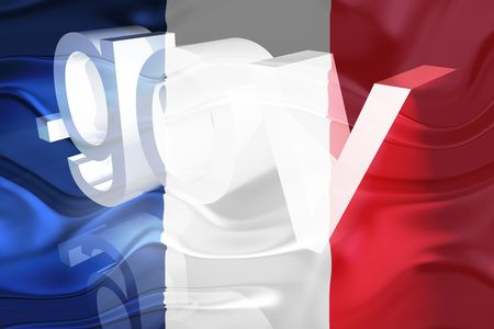 gov: Flag of France, national country symbol illustration wavy gov government website Stock Photo