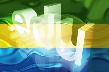 edu: Flag of Gabon, national country symbol illustration wavy edu education website