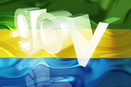 gov: Flag of Gabon, national country symbol illustration wavy gov government website