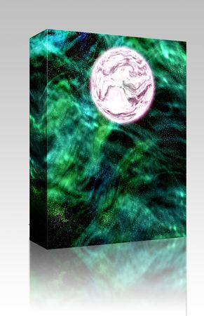 Software package box Science fiction planet complex space scene illustration