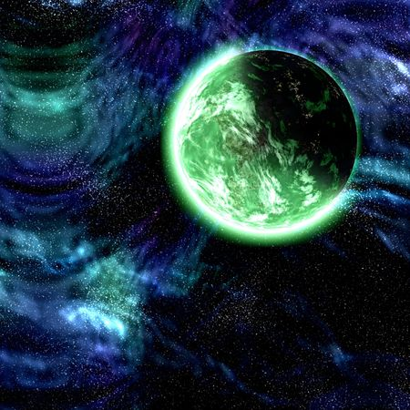 Science fiction cosmic planet complex space scene illustration Stock Illustration - 6645633