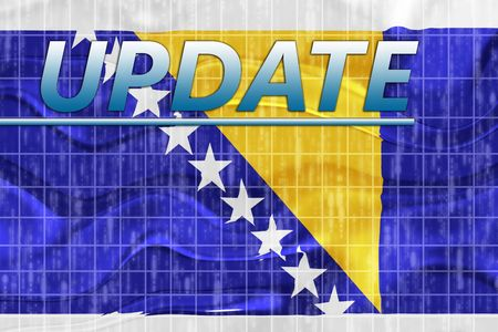 newsflash: News information splash Flag of Bosnia Hertzigovina, national country symbol illustration wavy