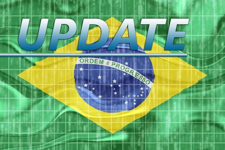 newsflash: News information splash Flag of Brazil, national country symbol illustration wavy