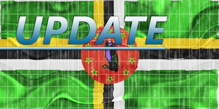 breaking wave: News information splash Flag of Dominica, national country symbol illustration wavy