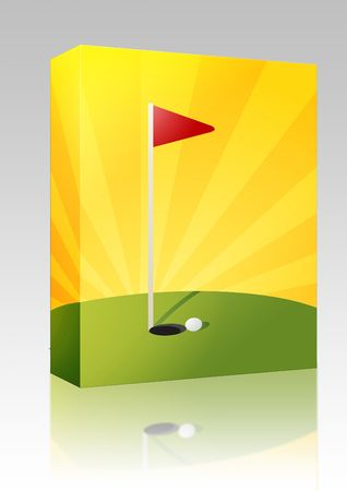 greens: Software package box Golf illustration with hole flag on greens Stock Photo