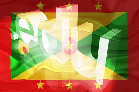 edu: Flag of Grenada, national country symbol illustration wavy edu education website