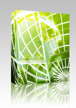 globe grid: Software package box Abstract globe grid wireframe Asia world map illustration Stock Photo