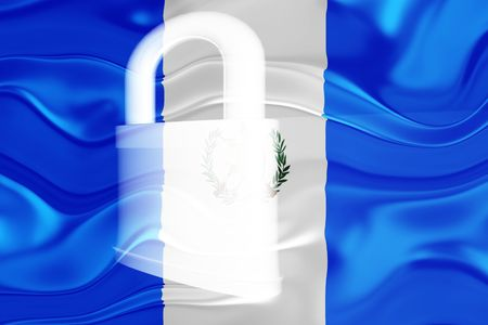 guarded: Flag of Guatemala, national country symbol illustration wavy security lock protection