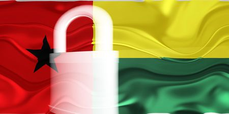 guarded: Flag of Guinea Bissau, national country symbol illustration wavy security lock protection
