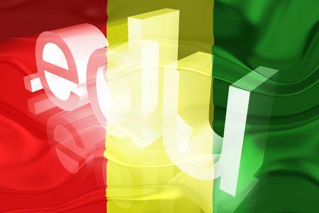 edu: Flag of Guinea, national country symbol illustration wavy edu education website Stock Photo