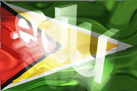 edu: Flag of Guyana, national country symbol illustration wavy edu education website Stock Photo