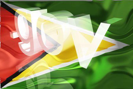 gov: Flag of Guyana, national country symbol illustration wavy gov government website Stock Photo